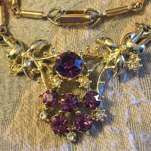 Vintage purple crystal gold tone necklace